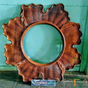 Frame Cermin Motif Daun Modern Bundar Jati